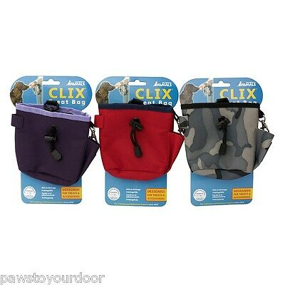 CoA Clix Treat Snack Training Bag Dog with Belt Attachment Red Purple Combat