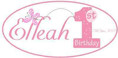 Iron On Transfer Personalised - 1St Birthday Girl For Any Color Top Size14X7Cm