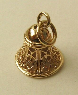 SOLID 9K 9ct Yellow Gold LARGE FILIGREE 3D BELL CHARM/PENDANT