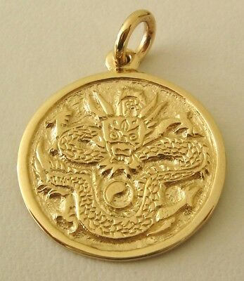 LARGE  GENUINE  SOLID  9K  9ct  YELLOW  GOLD  DRAGON  PENDANT