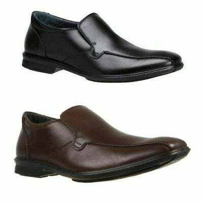 Mens Hush Puppies Cahill  Extra Wide Men'S Black Leather Work Slip On Shoes