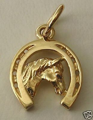 9ct Yellow GOLD HORSE HEAD in HORSESHOE CHARM/PENDANT