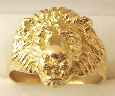 GENUINE 9K 9ct SOLID GOLD MEN'S LION RING Size T/10 to W/11.5