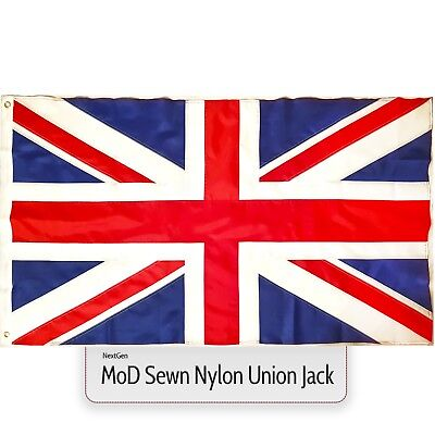 Union Jack Flag Great Britain MoD approved nylon traditional sewn 5x3ft GB UK