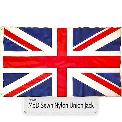 Union Jack Flag MoD Large Great Britain Nylon Sewn Fabric British GB UK 5 x 3