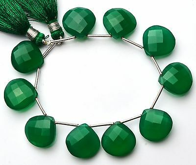 "Natural Gemstone Green Onyx Faceted Heart Shape Briolette Beads 6"" Strand"