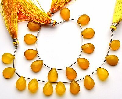 """Natural Gemstone Yellow Chalcedony Faceted Pear Shape Briolette Beads 6"""" Strand"""