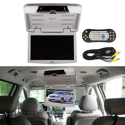 """15.6"""" Flip Down TFT LCD Monitor DVD Wite MP5 Player Car Roof Mount Monitors"""