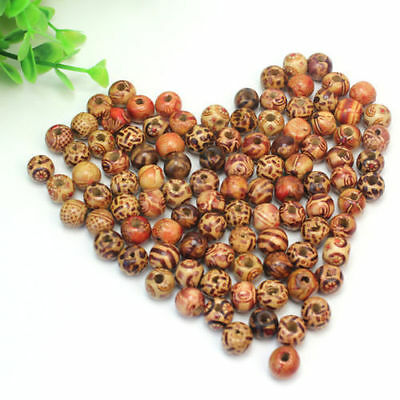 New 100 Mix Pcs Gorgeous Mixed 9x10mm Charming Wooden Round Craft Loose Beads