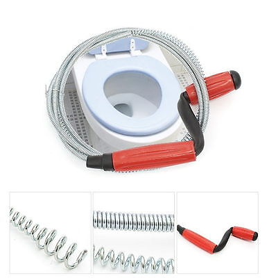 """Drain Tool Snake Closet Steel Auger Toilet  Sink Pipe Plunger 59"""" Wire Cleaner"""
