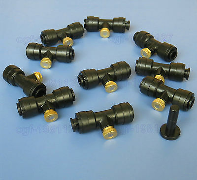 "1/4"" Slip-Lok ( Quick Connect ) 10/24 Misting Nozzle Tees ( Couplers ) Lot 5.10"
