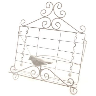 Cookbook Stand Cook Book Holder White Bird Metal Gloss French Iron 1053