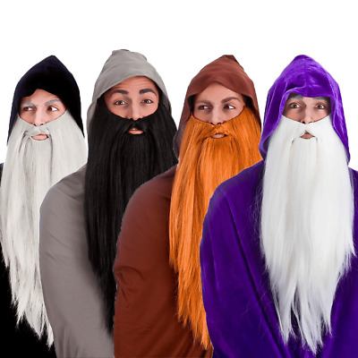Adult Deluxe Long Wizard Beard Scottish Gandalf Dumbledore Merlin Fancy Dress