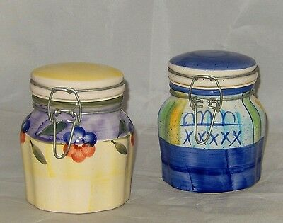 "Stunning Pair Of Alco Industries Multicolor 5"" Ceramic Canister / Storage Jar"