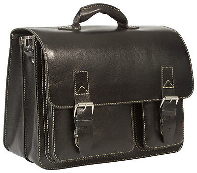 Bnwt Vintage & Rugged Thick Bridle Real Leather Black Satchel Laptop Briefcase