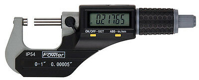 """Fowler 54-860-002-1 Electronic Coolant Resistant Micrometer 1-2"""" IP54"""