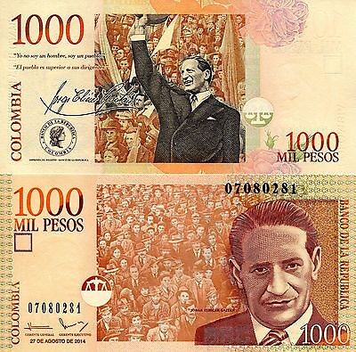 COLOMBIA 1000 Pesos Banknote World Money Currency NEW 2014 p456 variety BIL Note