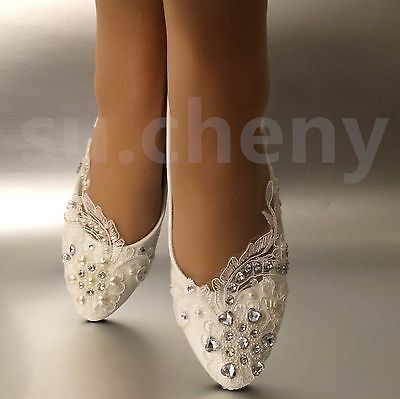 su.cheny White light ivory lace pearl heart rhinestone flat Wedding Bridal shoes