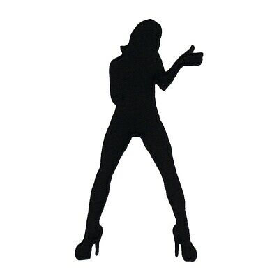 rocker babe black silhouette patch karaoke woman girl in heels iron on applique