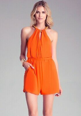 NWT bebe orange coral chain sexy embellished neck top dress romper XS S M L
