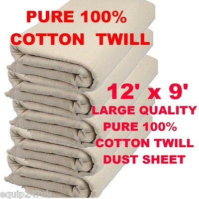 "LARGE"" (12ft x 9ft) PROFESSIONAL QUALITY 100% COTTON TWILL DUST SHEETS 24HR DEL!"