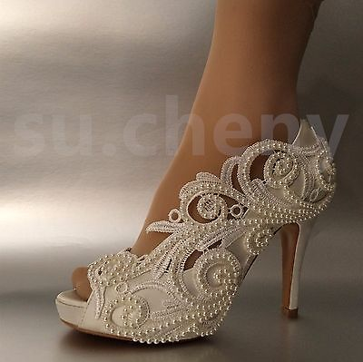 8/10 cm heel Pearl white ivory silk lace open toe Wedding shoes Bride size 5-11