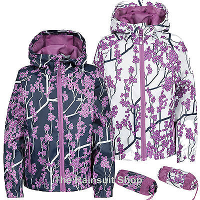 Trespass Girls Waterproof Printed Packaway Hooded Rain Jacket Coat Kids Childs