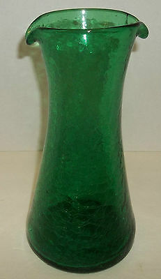 "Blenko Green Crackled Pitcher Vase  Double Pour Spout 11"" T18"