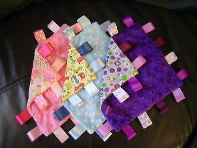 Minky Taggy Blankets, Comforters/Security, Many Designs and Sizes Available