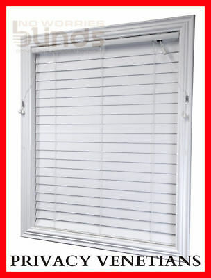 Ready Made Venetians Blinds 50mm Econo Wood Ecowood PVC Timber Look Blind
