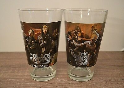Set of 2 THE BLACK EYED PEAS Pint Glass Collection Drinking Glass Tumblers 2010