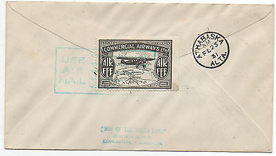 1931 Canada Airmail Cover with Cachet and Black Commercial Airways Stamp on Back