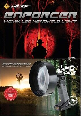 Lightforce 140mm Enforcer Red & White LED Handheld Spot light Built in battery &