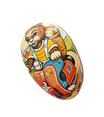 Old German Paper Mache Easter Egg Container Bunny Rabbit Riding Motor Bike