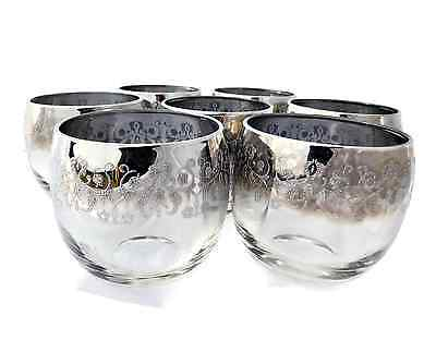 Set of 7 MCM Dorothy Thorpe Platinum Silver Fade Embossed Roly Poly Glasses