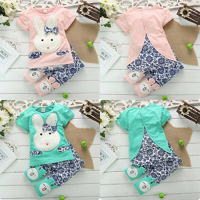 Casual Newborn Baby Boy Girl Clothes Rabbit Bunny Tops T-shirt+Pants Outfits Set