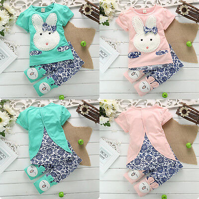 Cute Baby Kids Boy Girl Clothes Rabbit Bunny Tops T-shirt+Pants 2pcs Outfits Set
