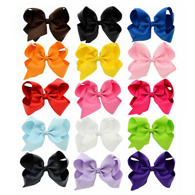 """15PCS 6"""" Large Bow Hair Alligator Knot Clips Girls Ribbon Bows Kids Accessories"""