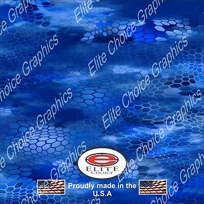 """Chameleon Hex 3 Blue Camo Wrap Vinyl Truck Camo Car SUV Real Camouflage 52""""x6ft"""