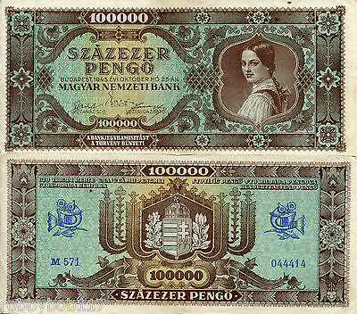 "HUNGARY 100000 Pengo Banknote World Paper Money Currency p121a ""F/VG"" BILL Note"