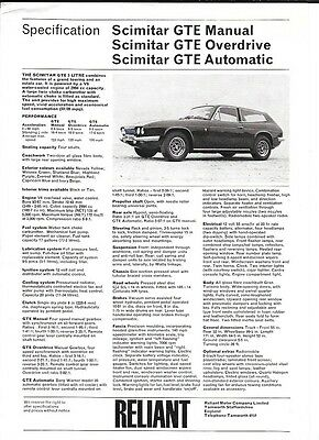 SCIMITAR GTE MANUAL, OVERDRIVE AND AUTOMATIC SALES 'BROCHURE' SHEET EARLY 70's