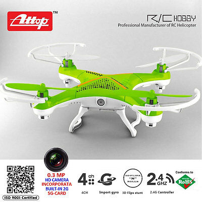 Drone Attop Quadricottero Radiocomandato 2,4 con Camera Colori Assortiti Rc