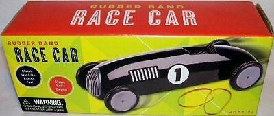 Rubber Band Wind up Retro Design Black Plastic Race Car 7 Long