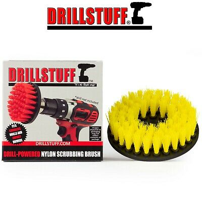 Drill Stuff - Carpet Brush with Drill Attachment, Medium Duty, Yellow