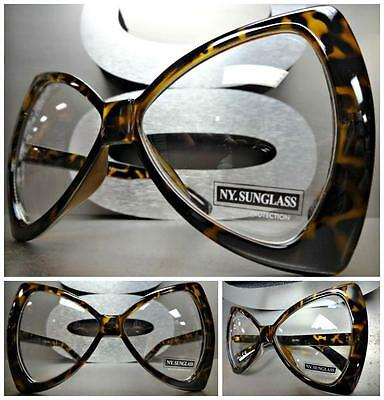 OVERSIZE EXAGGERATED HUGE Clear Lens EYE GLASSES Unique Bow Shaped Fashion Frame