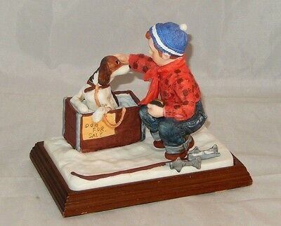 """Mint ~ Four Seasons Collection """"a Boy Meets His Dog"""" Norman Rockwell Figurine"""