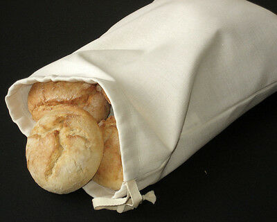 "Handmade Natural Linen Ivory Bread Bag. Bread Storage Bag. Reusable 9.8"" x 13.8"""