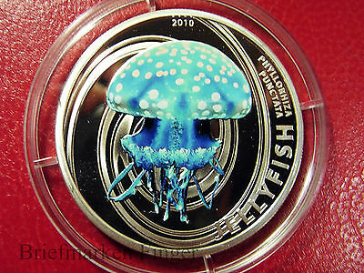 2010 Pitcairn  Color Proof Silver $2 Jelly  fish