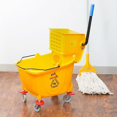 36 Quart Commercial Wet Mop Bucket & Wringer Combo Yellow  NEW