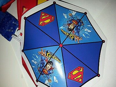 Toddler Boys DC Comics Superman Blue & Red Yellow Umbrella NEW